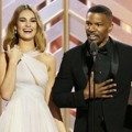 Lily James dan Jamie Foxx di Golden Globe Awards 2016